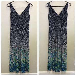 Chaps - floral print stretchy maxi dress SZ M EUC
